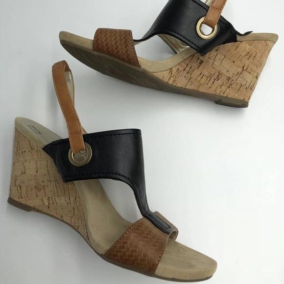 82aff6c88a1 Anne Klein Shoes - Anne Klein iflex Sandals Cork Wedge Brown 7.5